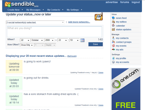 Update your status on multiple social networks at once