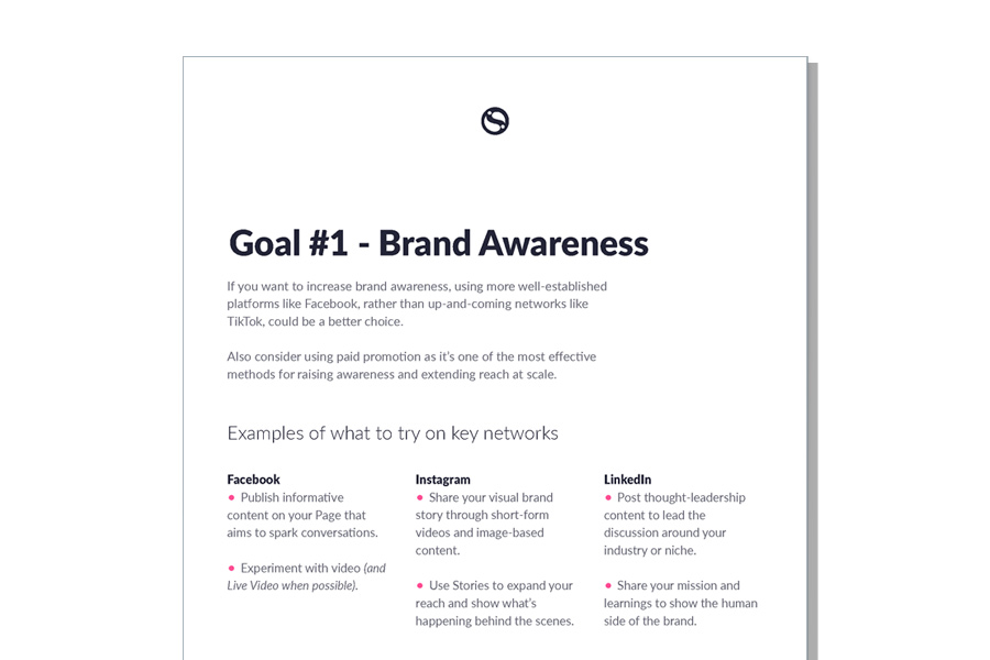 One of the pages from the guide to social media channels