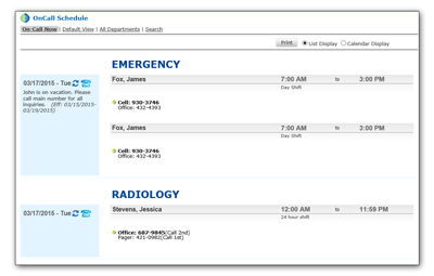 A screen shot of Hospital On Call Schedule on Intranet