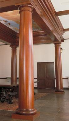 Intricate designs on interior wood columns for Interior support columns