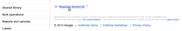 Negative Keywords