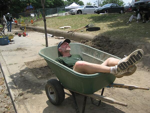 David Goldner takes a break from volunteering at Parks and People Foundation