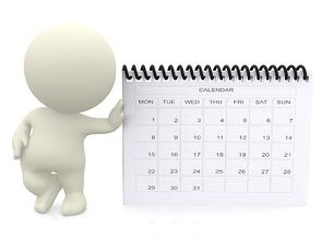 3D guy leaning on a calendar - isolated over a white background-1