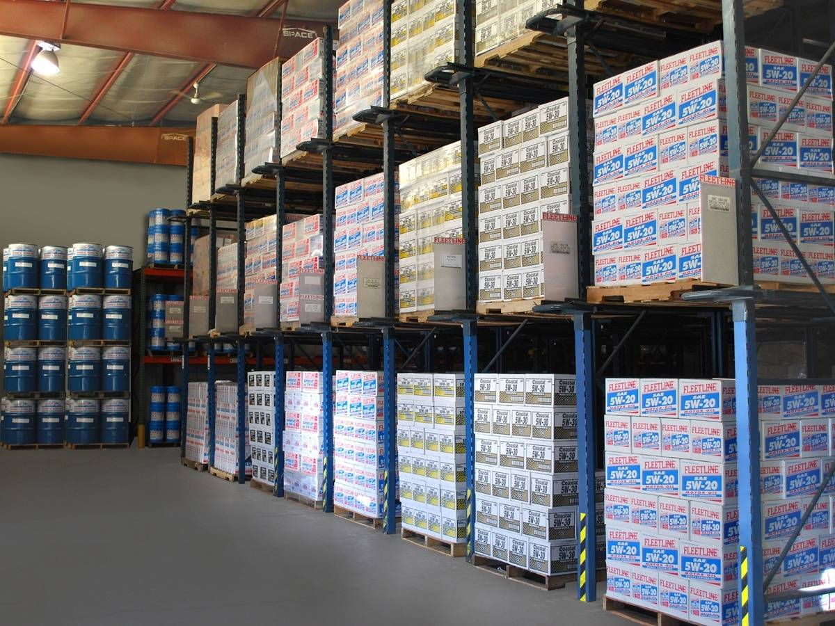 Warehouse racks of various branded motor oils