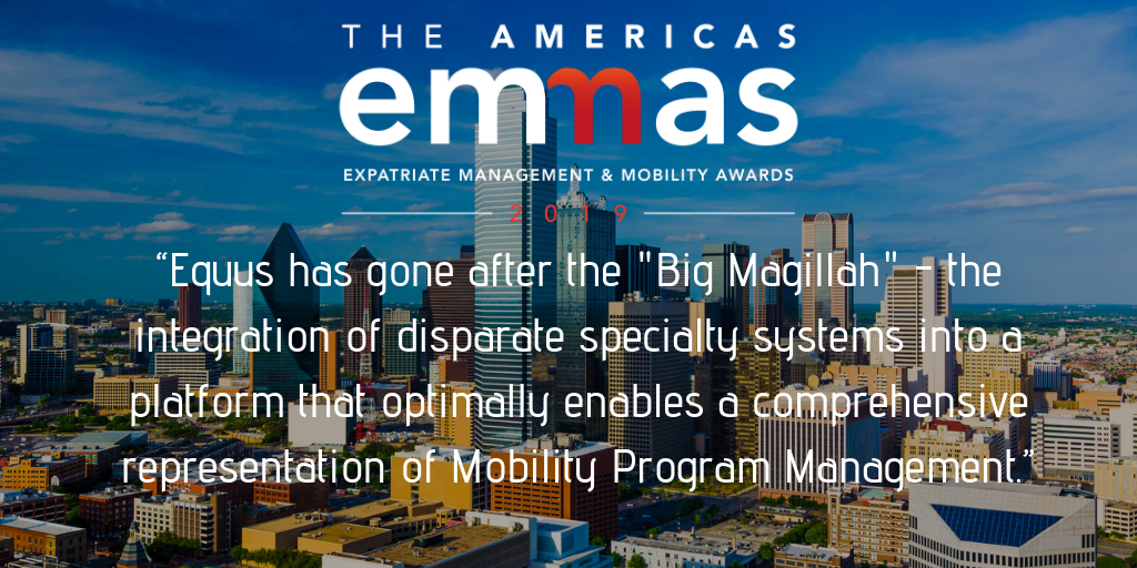 2019 Most Innovative Use of Technology in Global Mobility - Assignee Management - Equus Software