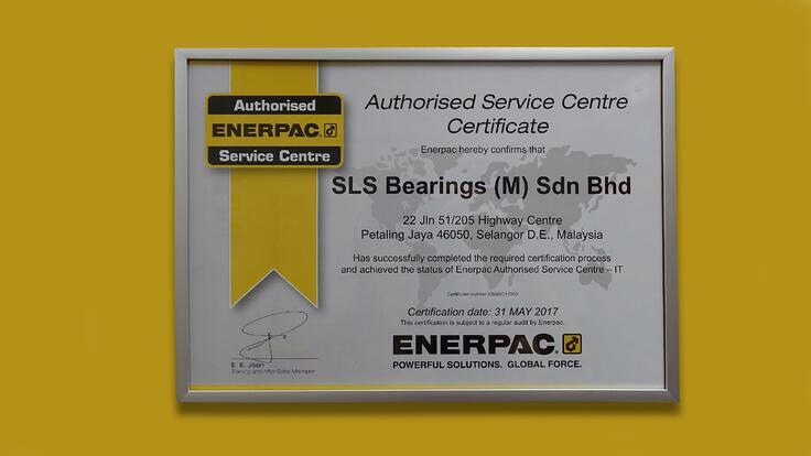 Image shows the Enerpac Authorized Service Centre Certificate awarded to SLS Bearings (M) Sdn Bhd in July 2017.