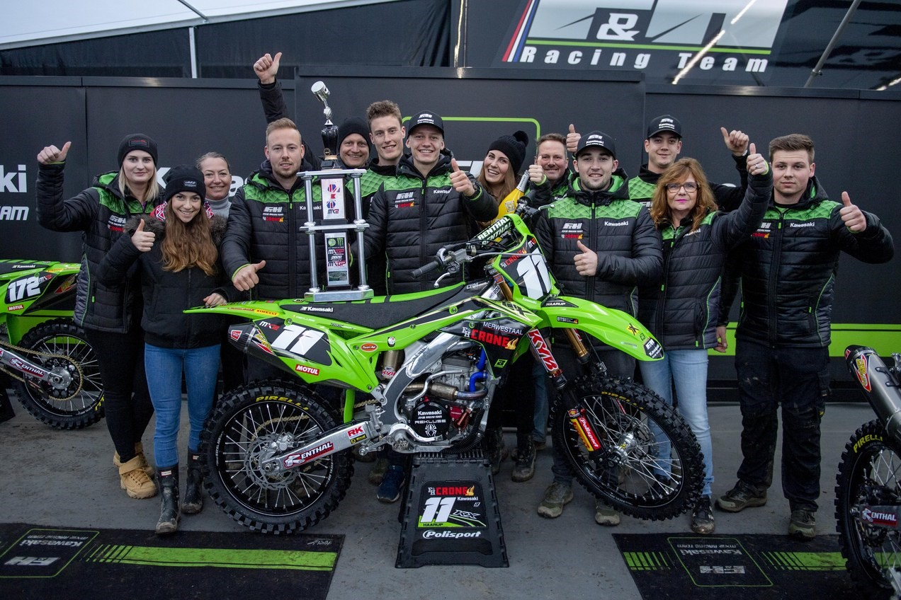 Mikkel Haarup and Team - Rd 1 Podium - Credit FH Kawasaki, Bavo Swijgers