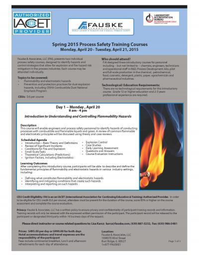 Spring 2015 Process Safety Training Courses