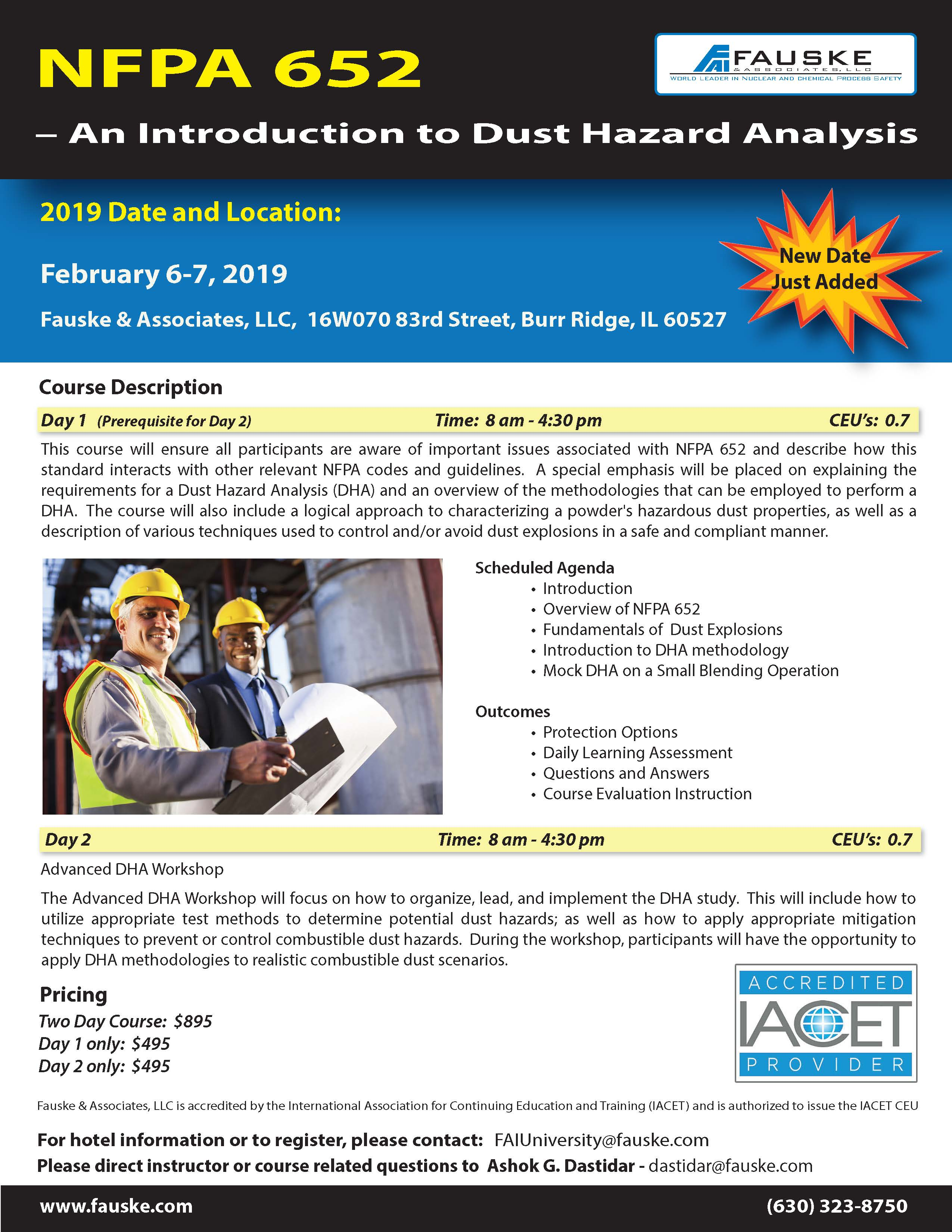 NFPA 652 combustible dust control and dust hazard analysis course