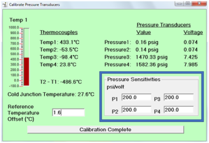 "Figure 4: a screenshot from the VSP2 control software after the ""Calibrate Temperature and Pressure"" button is selected on the main page. The ""Pressure Sensitivities"" box is where the psi/volt needs to be input."