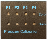 "Figure 5: VSP2 potentiometer screws where the user can adjust, the ""zero"" and ""gain"" for any pressure transducers that are being used to match the pressure reading from the gauge in Figure 1"