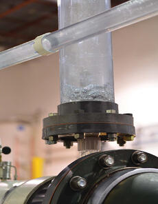 industrial Gas accumulator during a two-phase flow experiment.
