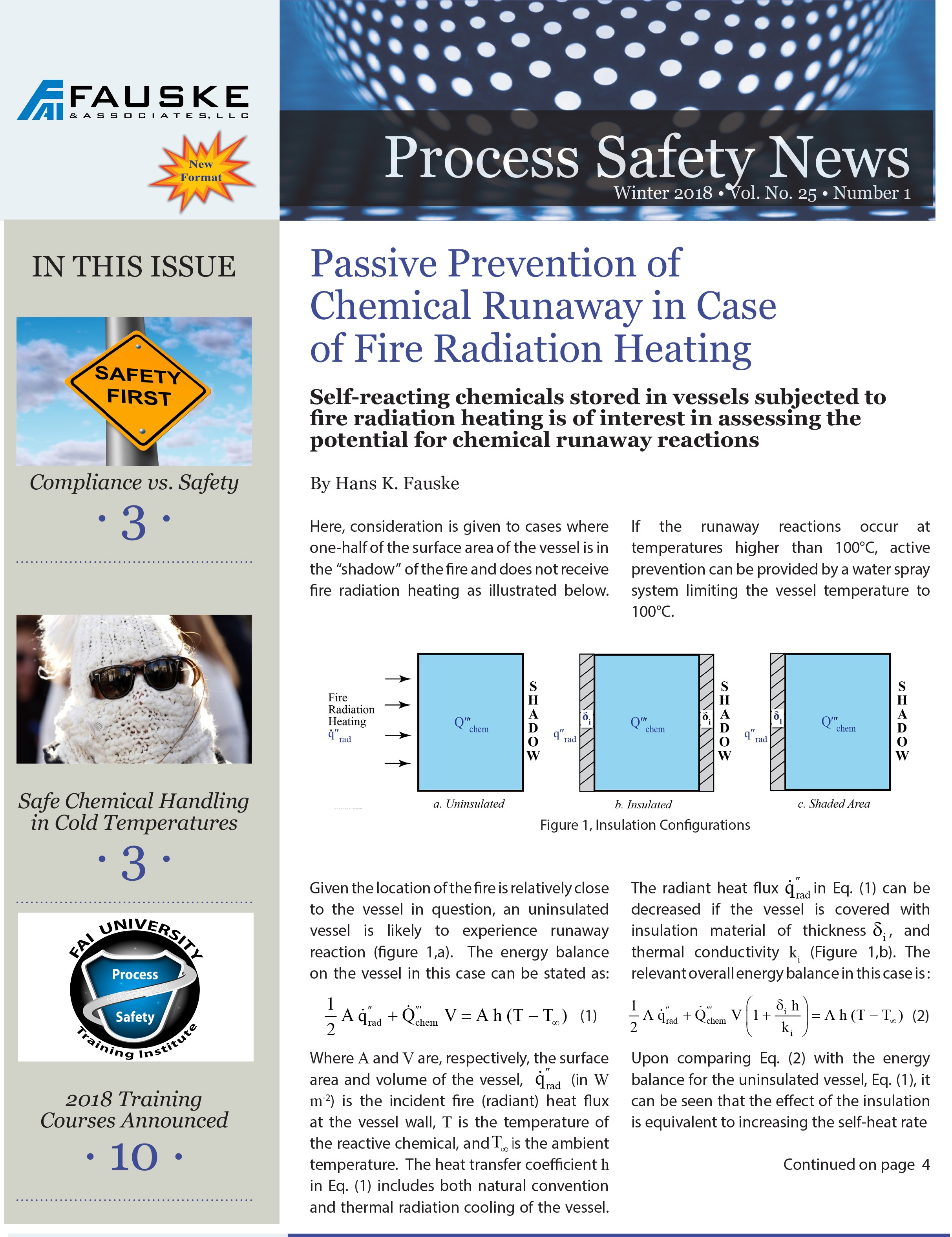 Process Safety News Winter 2018 Engineering and Testing Services