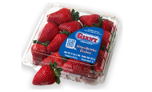 container full of strawberries