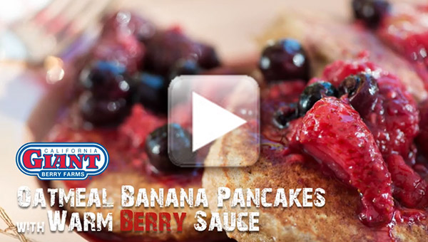 Oatmeal Banana Pancakes with Warm Berry Sauce video