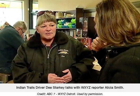 Indian Trails Driver Dee Starkey talks with WXYZ reporter Alicia Smith.