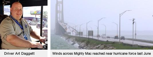 Driver Art Daggett | Mackinac Bridge Storm