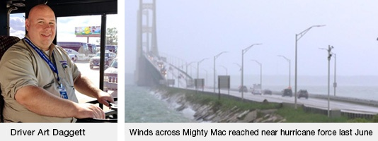 Driver Art Daggett   Mackinac Bridge Storm