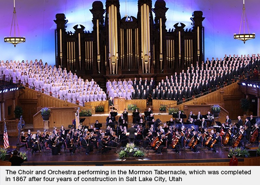 Choir and Orchestra Performing at the Mormon Tabernacle