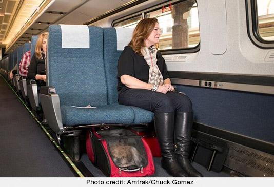 Dog on an Amtrak Train. Photo courtesy Amtrak/Chuck Gomez
