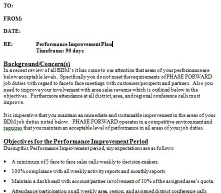 performance improvement plan example