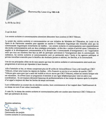 Lettre de référence Services Vidéo Gérés CBCI Télécom