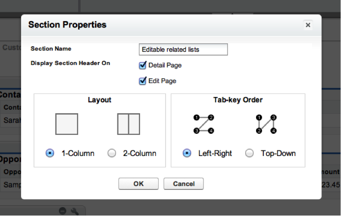 Name the new section whatever you'd like, make sure it has a 1 column configuration, then click OK