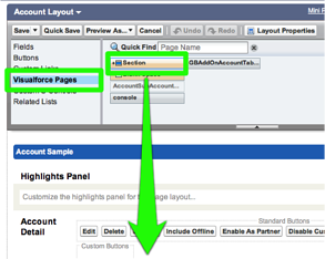 Select the Visualforce Pages option and drag a new Section onto the page layout