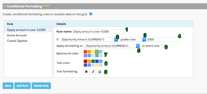 Conditional formatting on step 2 of the Grid Wizard