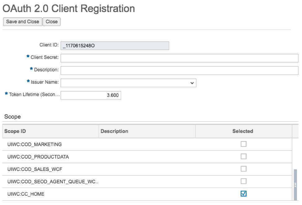 SSO and OAuth 2.0 Client Registration6