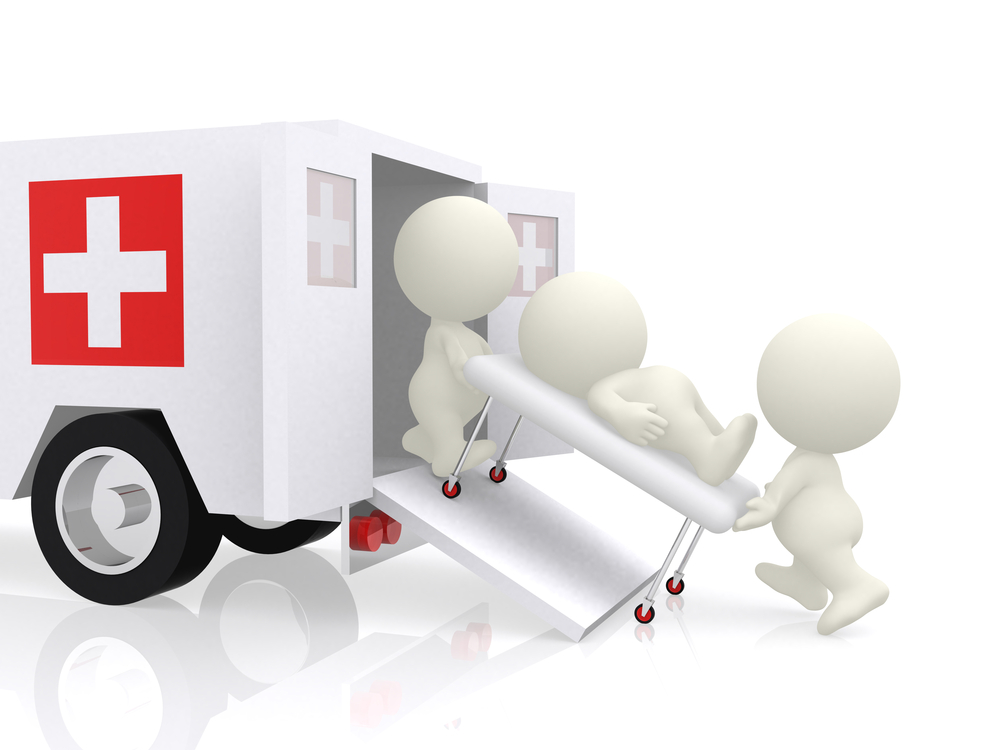 3D emergency ambulance assisting a guy - isolated over a white background