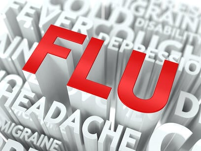 Flu Concept. The Word of Red Color Located over Text of White Color.