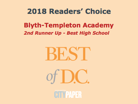 BTA Voted One of Top 3 High Schools in DC!
