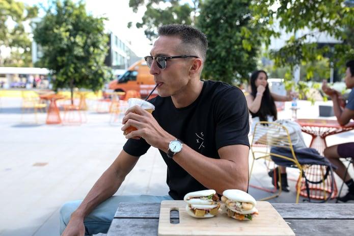 Dylan enjoying Vietnamese food