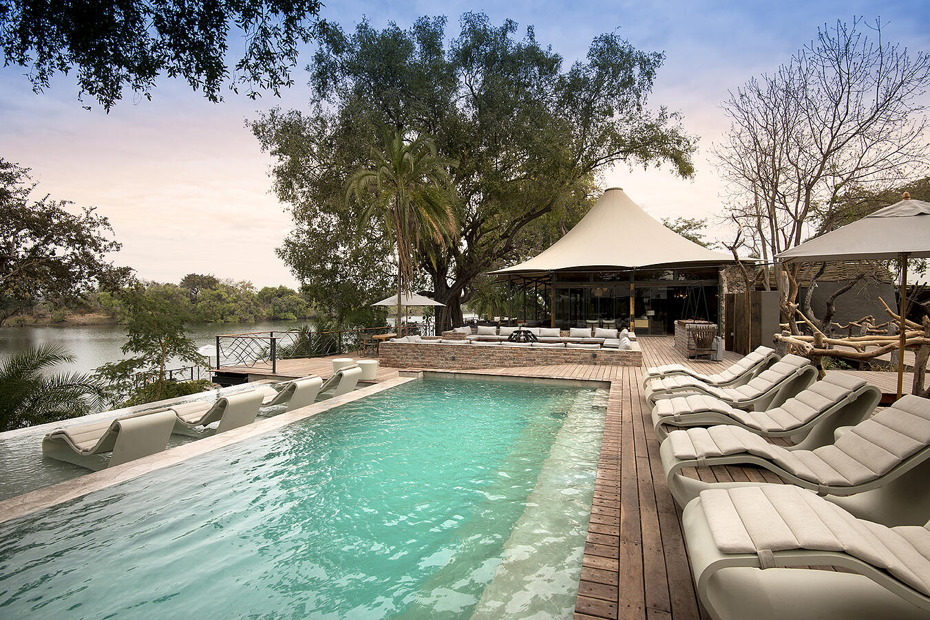 Thorntree River Lodge Livingstone Zambia African Bush Camps Luxury Safari Lodge (100) Pool Area