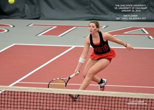 College Athlete Playing Tennis
