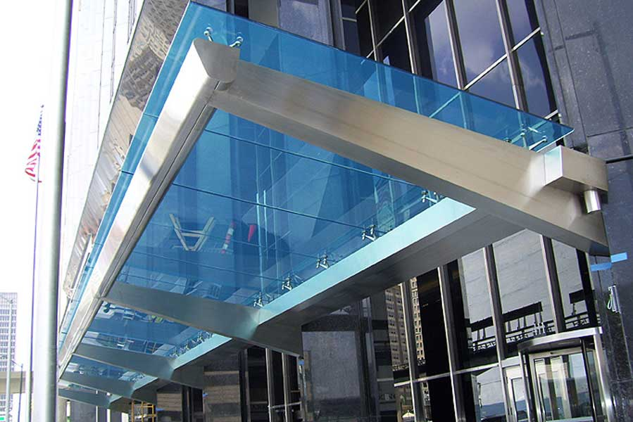 Large Stainless Steel Canopy With Colored Laminated Safety
