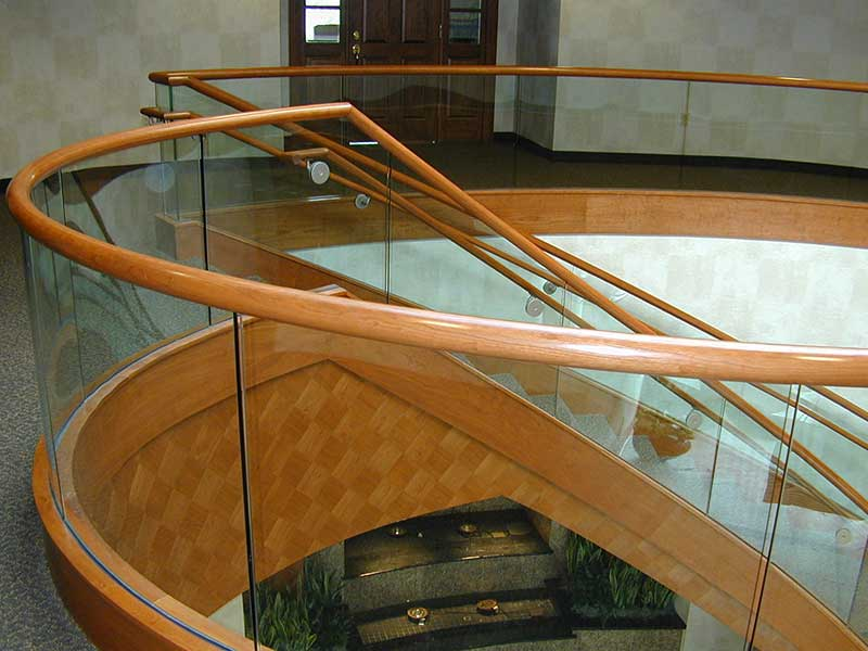 ... Custom Wood Railing On Top Of Curved Glass Railings ...