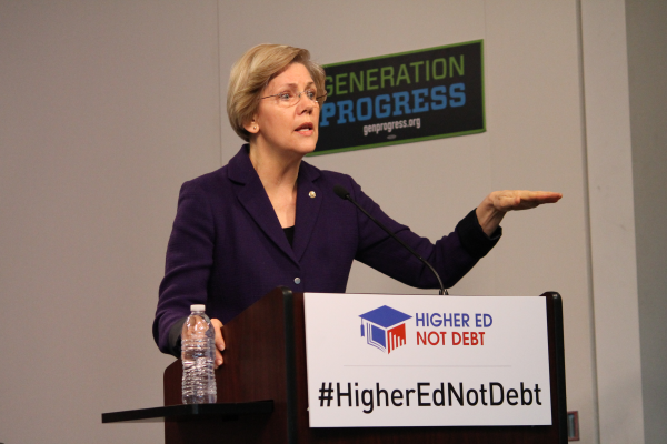 Senator Warren speaks about student loan debt