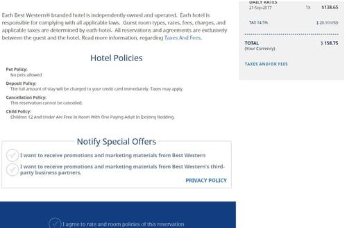 unsavory marketing best western booking screenshot