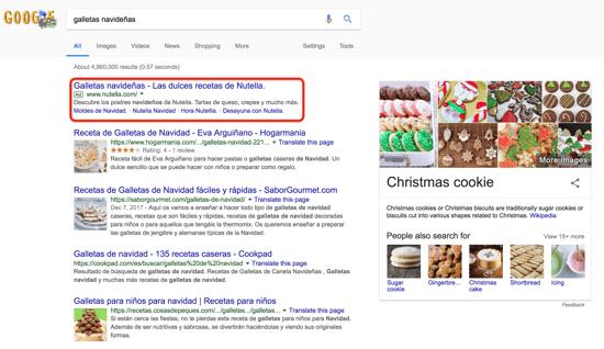 galletas navideñas búsqueda resaltada en google