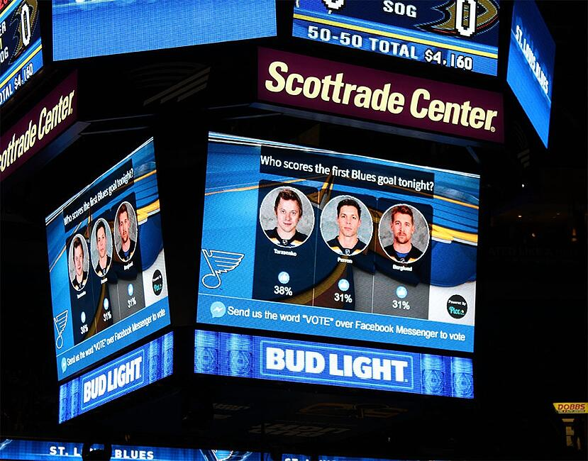 Pico.Buzz on screen integration with the St.Louis Blues