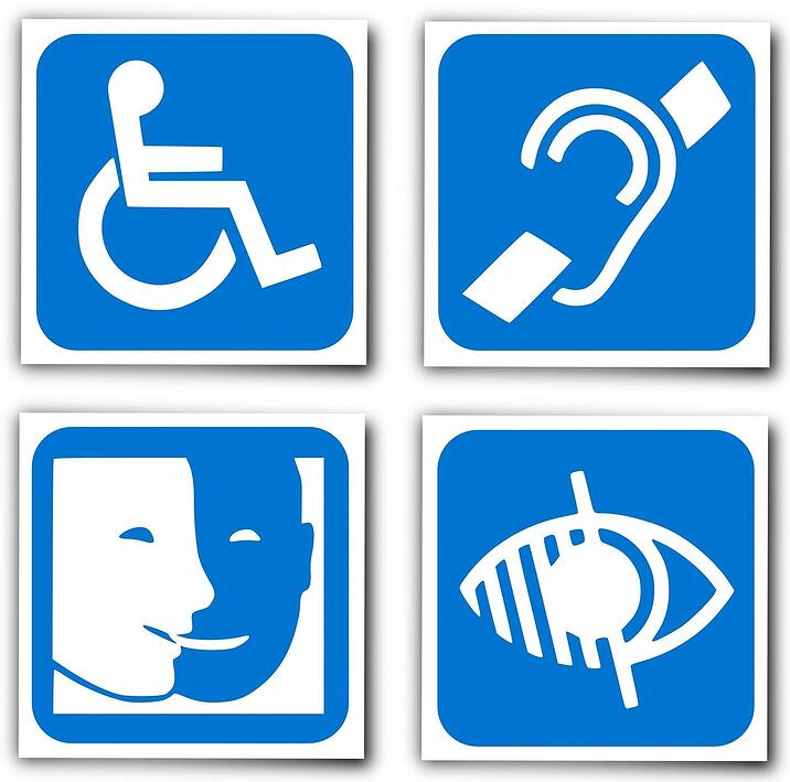 blue and white image of handicap signs