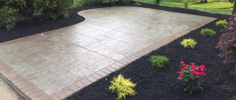 Beautiful Stamp Concrete Patio With Full Landscaping Colors- Patio: Border: