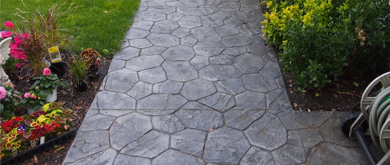 Stamp Concrete Walkways with Beautiful Splash of Color-Landscaping