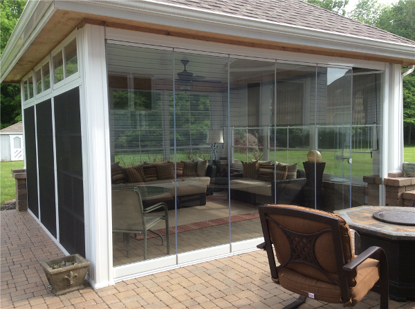 Lumon Panoramic Tempered Glass Patio Enclosure Highland Heights Ohio. Natural Light Patio Covers