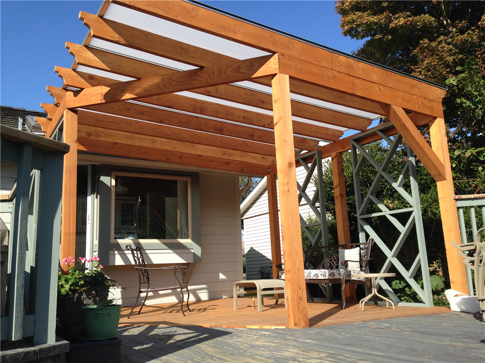 Acrylic Patio Awnings over pergola Mentor Ohio. Natural Light Patio Covers