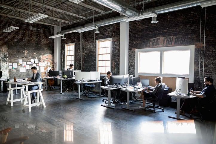 Desks in an office