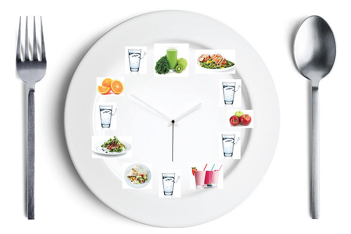 plate with food on it arranged like a clock