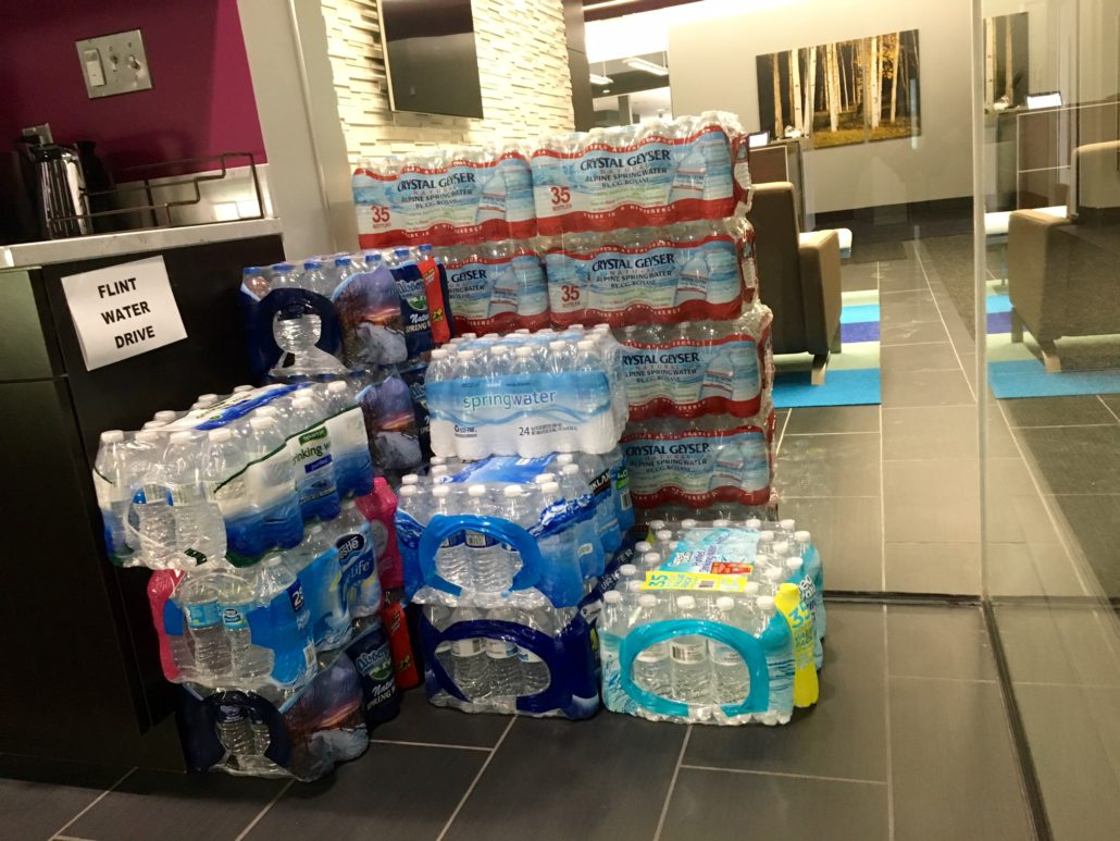Our donation piling up in the kitchen